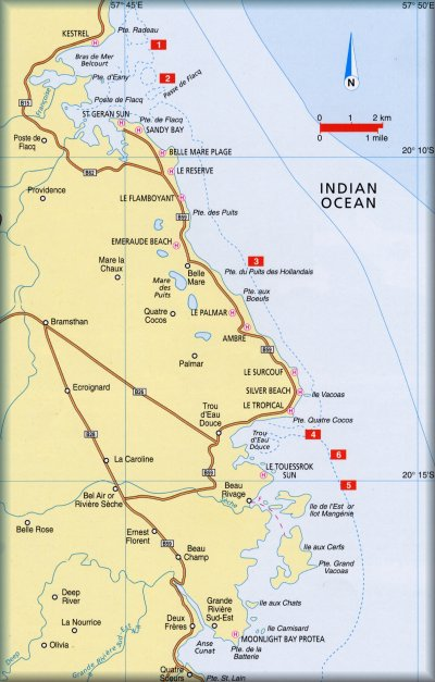 Mauritius Diving Log Book  Map of East Coast