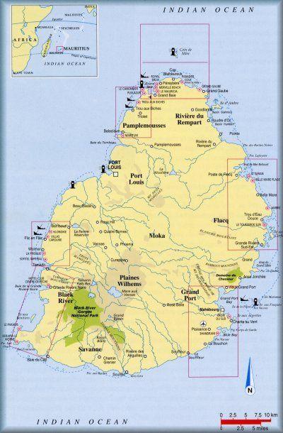 Mauritius Diving Log Book Map of Island